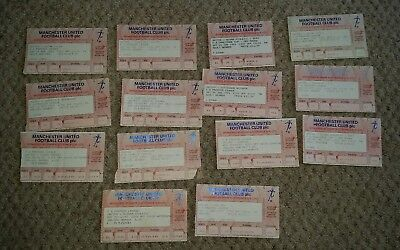 Set of 15 1992/93 MANCHESTER UNITED  HOME original match tickets OLD TRAFFORD