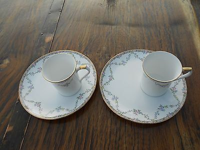 2 Vintage Churchill Queens Bone China Garland Rose Mugs and Plates