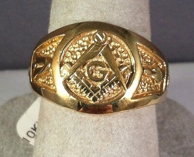 10K Yellow Gold MASONIC GENTS RING Blue Lodge Solid Back MASONS