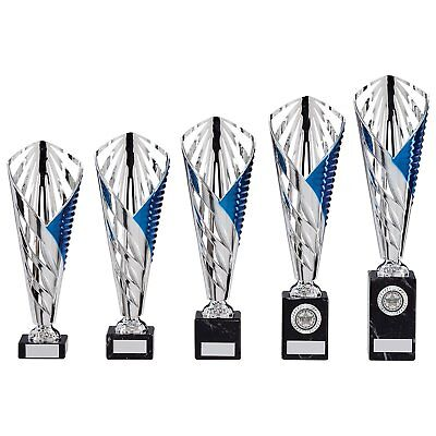 Blue/Silver Modern Cup 5 sizes Trophies Football Dance Sport Cups FREE Engraving