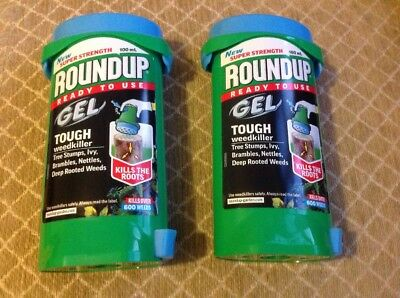 Roundup gel tough weedkiller kills roots Tree Stumps Brambles Ivy 100ml X2 Packs