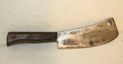 Vintage Meat Cleaver High Carbon Signed Heavy