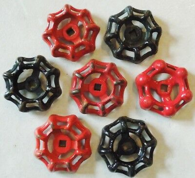 7 Vintage Steampunk Cast Iron Water Valve Handles ( Red And Black )