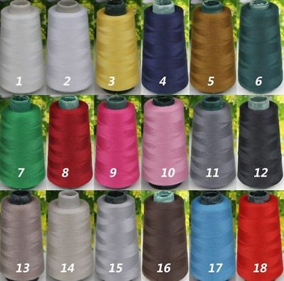 18Colors 3000 Yards Industrial Overlocking Sewing Machine Polyester Color Thread