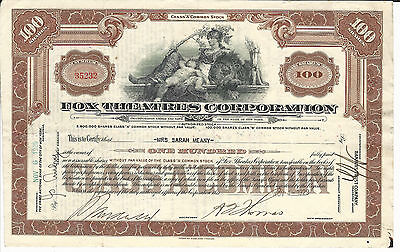 1929 NEW YORK Fox Theatres Corporation Stock Certificate