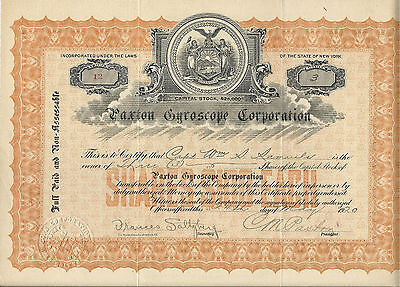 NEW YORK 1920, Paxton Gyroscope Corp Stock Certificate