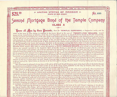 1897 NEW JERSEY, The Temple Company $25 Bond, Stock Certificate Camden