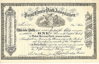 PENNSYLVANIA 1876 Point Breeze Park Assoc. Stock Certificate Philadelphia Racing