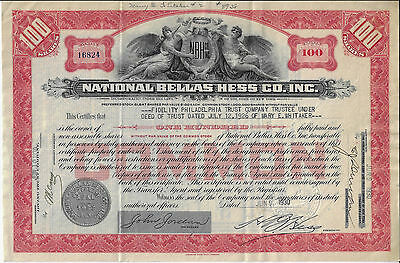NEW YORK 1930 National Bellas Hess Company Inc Stock Certificate