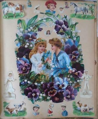 Victorian Antique Scrap Album - Children Birds Dogs Flowers etc.