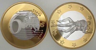 2 X 6 Euros Gold Plated Fun Coins Unc.