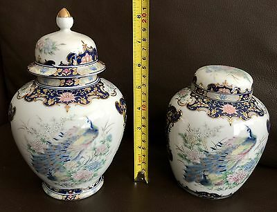 Two Vintage Beautifully Hand Painted & Handcrafted Japanese Porcelain Jars