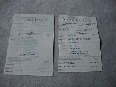 1947-48 & 49 Two Teamsheets For Sheffield United Handwritten Yorkshire League