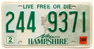"""New Hampshire 2008 """"Old Man of the Mountain"""" License Plate, Live Free or Die"""
