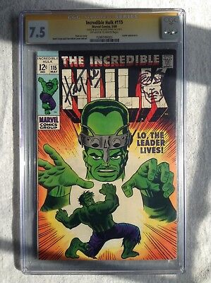 Incredible Hulk #115 CGC SS 7.5 OWW 1969 Signed & Hulk Sketch by Herb Trimpe