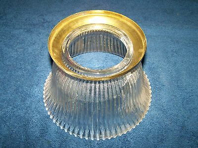 Antique Gas Light GLASS Shade Vintage used OLD w/ Brass Ring