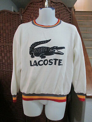 Vintage Lacoste Sweatshirt Big Crocodile Logo 1980's Rare Adult Medium Made USA