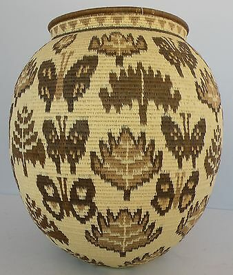 Large Wounaan Embera rainforest Panama Basket fair Trade Natural butterfly Motif
