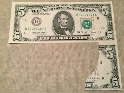 rare Cutting ERROR w/ the 2nd note still attached on a 1995 $5