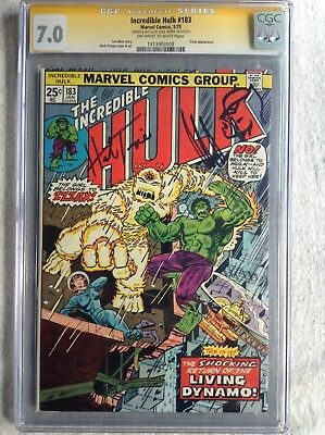 Incredible Hulk 183 CGC SS 7.0 OWW 1975 Signed & Wolverine Sketch by Herb Trimpe