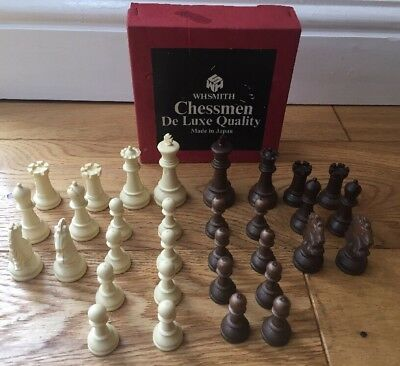 Vintage W H Smith Chessmen Set Brown White De-Luxe Quality Boxed Made In Japan