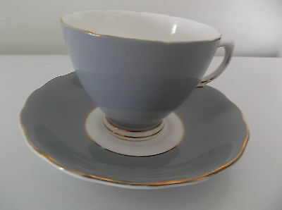 Vintage Colclough Bone China Grey Cup & Saucer - Made In England