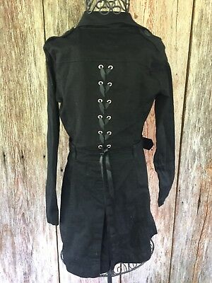 Small Black Corset Back Long Trench Jacket Goth Belted New Steampunk Victorian