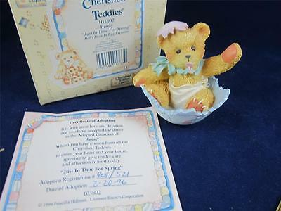 1994 Enesco Cherished Teddies Bunny Just In Time For Spring Figurine Baby 103802