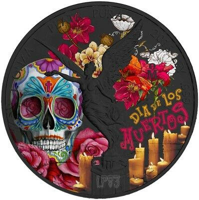 2017 1 Oz Silver DIA DE LOS MUERTOS LIBERTAD Coin WITH 24K Black Ruthenium..