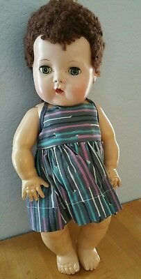 "Vintage 13"" American Character Tiny Tears Baby Doll w/ Beautiful Brunette Hair!"
