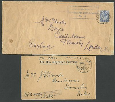 """(990206)  Südwestafrika 1915, 2 covers, one with boxed cachet """"passed by Consor"""