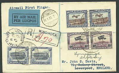 (990215)  Südwestafrika  26. Jan. 1932 First Flight cover Windhoek - Liverpool