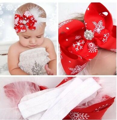Baby Girls Toddler Christmas Bow Feather Headband Snow Flake Hairbow Xmas Photo