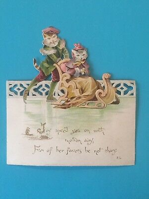 Greeting card anthropomorphic Cats on sledge