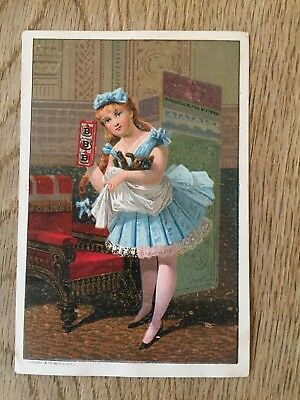 Victorian Advertising Card Girl ballerina dancer with cat Burdock Blood Blisters