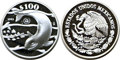 1992 Mexico 100 Pesos Silver Save The Vaquita Porpoise KM# 566 Proof