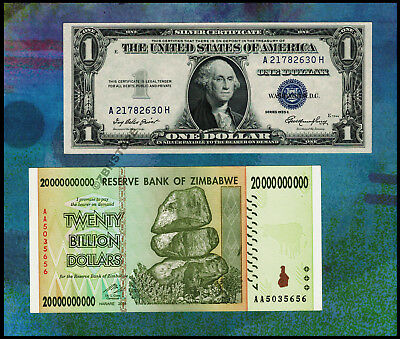 20 Billion Zimbabwe Dollars Banknote + 1$ US Silver Certificate 1935 Almost UNC