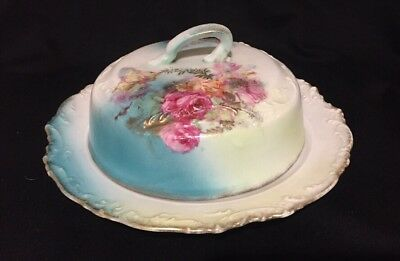 Antique Porcelain Butter Dish with Hand Painted Flowers and Noveau Gilded Border