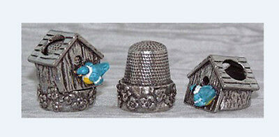 Blue bird House Carol Ann Miniatures Collectible Thimble