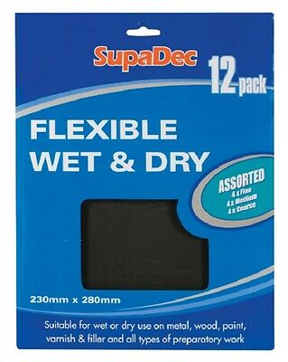 12 x Assorted Flexible Wet & Dry Sandpaper Fine Medium and Coarse
