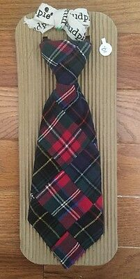NWT$19 Mud Pie Christmas Holiday Green Red Baby Boy Toddler Patchwork Plaid Tie