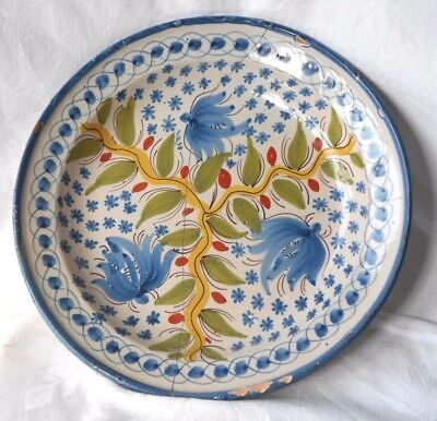 C18Th French Faience Dish Decorated With Leaves A/f