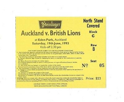 1993 - Auckland v British Lions, Touring Match Ticket.