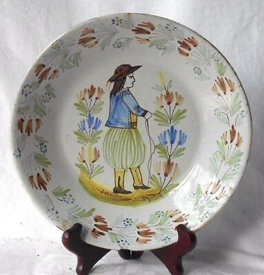 C19Th Quimper French Faience Dish Decorated With A Breton Man