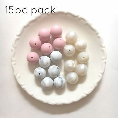 10 silicone beads MIXED PACK 19mm round pink marble pearl sensory jewellery 20mm
