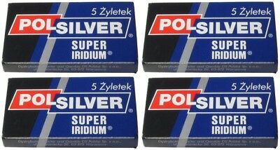 20 Polsilver Super Iridium double edge razor blades