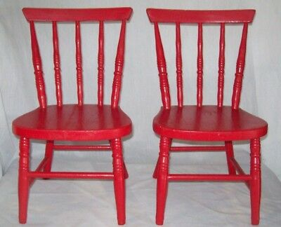 Two (2) Antique Child's Red Painted Wood Wooden Spindle Chairs Vintage