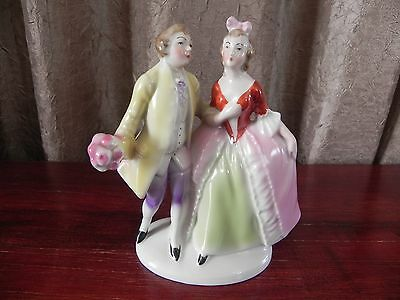 Erphila Porcelain Figurine Man Courting Woman Made In Germany U.S. Zone