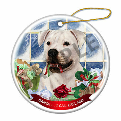 American Bulldog Howliday Porcelain China Dog Christmas Ornament H2