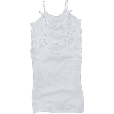Just Essentials Girls Back To School 5 Pack Cotton Cami Tops Vests Plain White